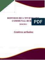 Les Données de l'Inventaire Communal Rural 2010_2011 Des Centres Urbains Des Communes Rurales