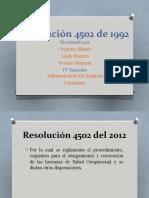 Resumen Resolucion 4502 de 1992