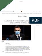 Prestes a encontrar Bolsonaro, Pacheco cita caminho de 'união ou caos'