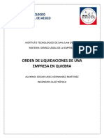 Orden de Liquidaciones de Una Empresa en Quiebra