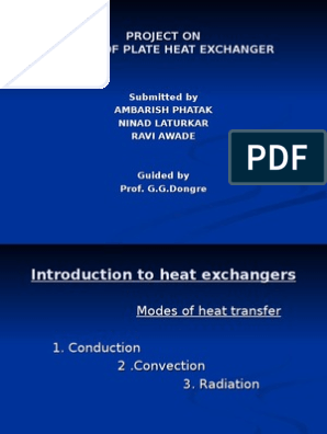 design of plate type heat exchanger Project PPt | Heat