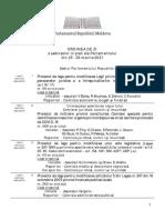 ORDINEA DE ZI a ședințelor în plen ale Parlamentului din 25 - 26 martie 2021