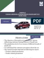 Customer Satisfaction & Buying Behavior Towards Small Cars