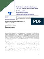 Varlamoff, Marie-Thérèse, y Plassard, MArie-France. Encuesta sobre prevención de desastres en las bibliotecas nacionales
