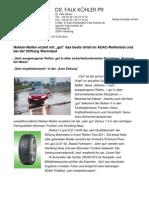 """Nokian-Reifen erzielt mit """"gut"""" das beste Urteil im ADAC-Reifentest und bei der Stiftung Warentest / """"Sehr ausgewogener Reifen, gut in allen sicherheitsrelevanten Disziplinen, Bestnote bei Nässe"""" / """"Sehr empfehlenswert"""" in der """"Auto Zeitung"""""""