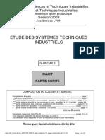 ETUDE DES SYSTEMES TECHNIQUES INDUSTRIELS
