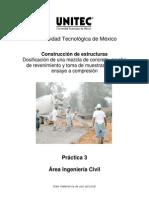 Práctica 3. Dosificación de una mezcla de concreto, prueba de revenimiento y toma de muestras para su ensaye a compresión