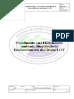 PSGA-001  Licenciamento Ambiental Simplificado