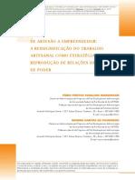Artigo MARQUESAN e FIGUEIREDO, 2014. de Artesão a Empreendedor Ressignificação Do Trabalho Artesanal
