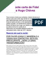 Impactante carta de Fidel Castro a Hugo Chávez