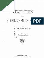 Statuten Der Symbolischen Grossloge Von Ungarn, 1890