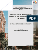 MEMORIA  DE TRABAJO PROFESIONAL