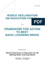 Jomtein Declaration. World Declaration on Education for All and Framework for Action. March 1990