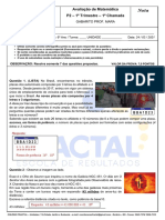 Gabarito Prova2  (P2) do dia 24março 6ano MATEMÁTICA Prof. Mara