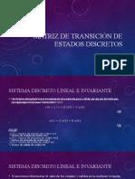 Matriz de transición de estados discretos