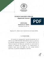 Prueba de referencia condena con prueba de corroboración SP399-2020(55957)