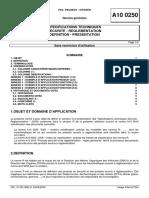 A10 0250 (rev. H; 2000.09) FR - SPECIFICATIONS TECHNIQUES - SECURITE - REGLEMENTATION - DEFINITION - PRESENTATION