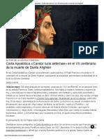 Carta Apostólica «Candor lucis aeternae» en el VII centenario de la muerte de Dante Alighieri