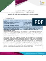 Syllabus del curso Desarrollo de lenguaje (1)