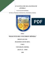 INFORME DE SOLICITUD DE CONCESION MINERA