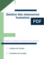 GRH chapitre 5 (suite) Evaluation des emplois- 2018