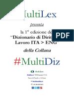 Dizionario Diritto Del Lavoro ITA ENG Prima Edizione MultiLex