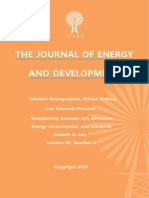 """""""Relationship between CO2 Emissions, Energy Consumption, and Economic Growth in Iran,"""" by Fatemeh Rastegaripour, Alireza Karbasi, and Fatemeh Pirmalek"""
