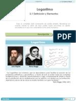 2.1 Definición y Elementos de Logaritmo
