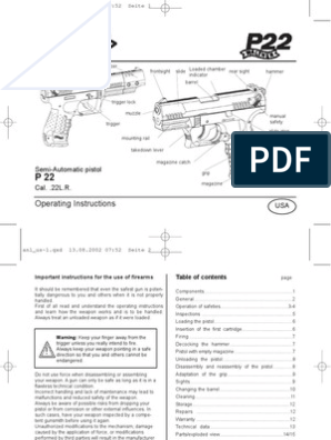 Walther P22 USA Manual | Trigger (Firearms) | Magazine (Firearms) on