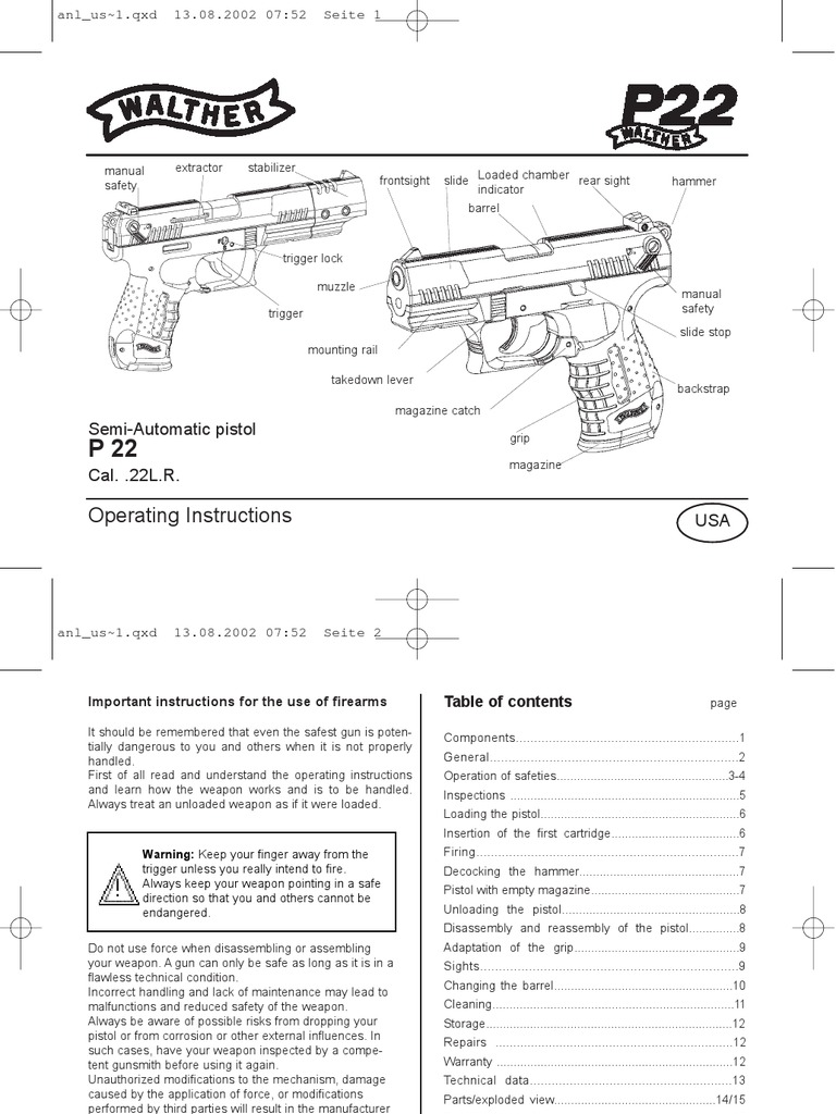 Walther P22 Usa Manual Trigger Firearms Magazine Firearms