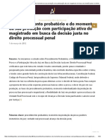 Do procedimento probatório e do momento da sua produção com participação ativa do magistrado em busca da decisão justa no direito processual penal - Âmbito Jurídico