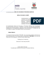 Edital n° 025-2021 – COGEPS –  Complementar das Bancas Definitivas nos Campi de Cascavel e Foz do Iguaçu