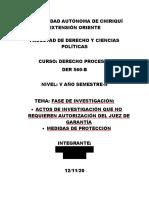 ACTOS DE INVESTIGACION  QUE NO REQUIERE AUTORIZACION DEL JUEZ DE GARANTÍA