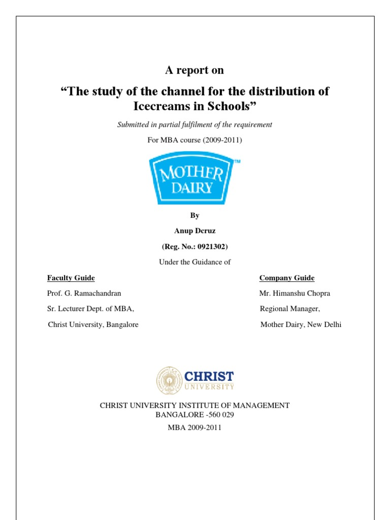 study of mother dairy's wt 5