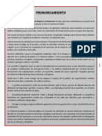 Pronunciamiento Movimiento Feminista Jujuy