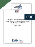 Sujets Dissertation Philo 1996 2019