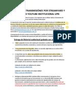 FORMATO DE TRANSMISIÓNES POR STREAMYARD Y CANLA DE YOUTUBE INSTITUCIONAL UPN