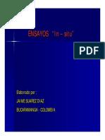 ENSAYOS In. situ. Elaborado por _ JAIME SUAREZ DIAZ BUCARAMANGA - COLOMBIA