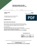 2009 NYJC GP Prelim Paper Answer Booklet