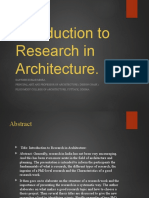Introduction to Research in Architecture