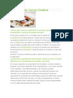 cocina creacionDefinición de Cocina Creativa