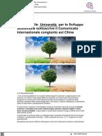 La Rete delle Università Sostenibili (RUS) sostiene il comunicato sul Clima - Vivere Urbino.it, 26 marzo 2021
