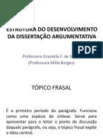 ESTRUTURA DO DESENVOLVIMENTO DA DISSERTAÇÃO ARGUMENTATIVA