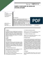 NBR 06118 - 80 - Projetos de Execução de Obras de Concreto Armado