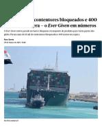 """Mais de 18 mil contentores bloqueados e 400 navios em espera — o """"Ever Given """" em números _ Egipto _ PÚBLICO"""