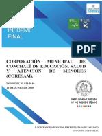 Informe Final 923-2019 Auditoria Al Uso de Los Recursos Utilizados en El Pago de Cotizaciones Previsionales y de Salud , En La Corporación Municipal de Conchalí de Educación , Salud y A