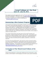 Tikvah Israel Fellows at Ein Prat brochure
