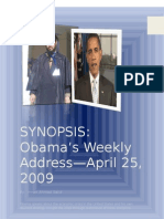 Obama's Weekly Address, Apil 5, 2009-SES Assignment March 05 2011