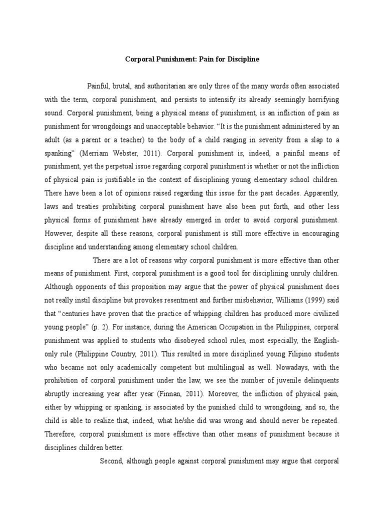 Argumentative essay on corporal punishment essays on writing
