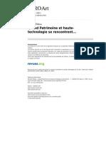 Tilkens, B. Quand Patrimoine Et Haute-technologie Se Rencontrent 2007